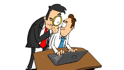 Person at computer with supervisor over shoulder with a magnifying glass.